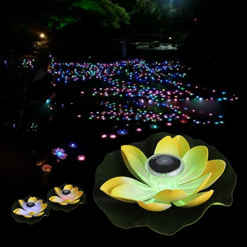 0.1W Solar Powered Multi-colored LED Lotus Flower Lamp RGB Water Resistant Outdoor Floating Pond Night Light Auto On / Off for Garden Pool Party Ideal Gift  Pink