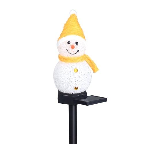 Lâmpada solar de Natal com boneco de neve inserido no solo