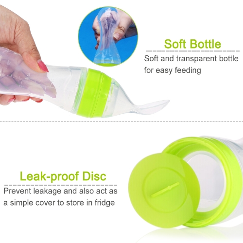 Baby Toddler Leak-proof Food Dispensing Spoon Juice Cereal Feeding Bottle 120ml