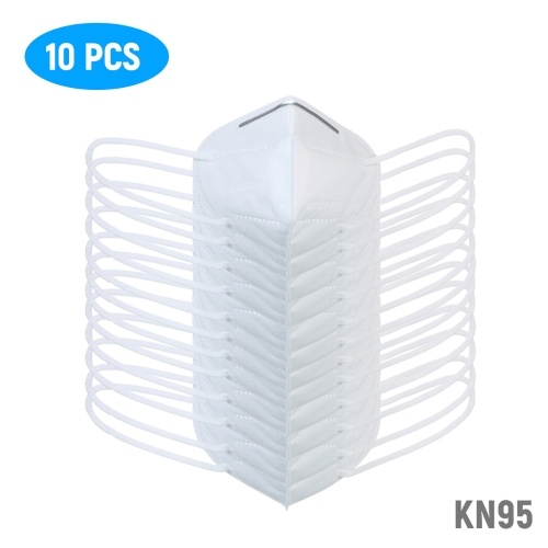 10PCS Disposable KN95 FFP2 Face Mask Three-dimensional Protective Respirator 5-Layer Filter Mask >95% Filtration Adaptable Nose Bar Soft & Breathable Non-woven Fabric Ear-loop Style against Droplet Dust Particles Pollution (10Pcs/Pack)