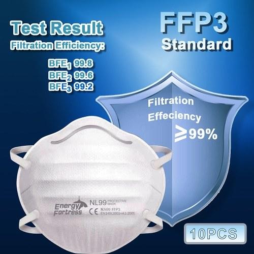 10 PCS NL99 masque facial 4 couches masque de protection jetable 99% efficacité de filtration KN99 FFP3 standard épais anti-poussière anti-éclaboussures masque facial de sécurité