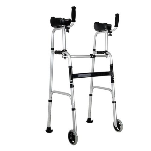 Folding Walker 2 Wheels Rollator Walker with 5-in Fixed Wheels Padded Armrests Adjustable Height for Seniors Elderly