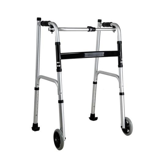 Deambulatore pieghevole a 2 ruote Deambulatore a dondolo con ruote fisse da 5 pollici Braccioli imbottiti Altezza regolabile per anziani Anziani