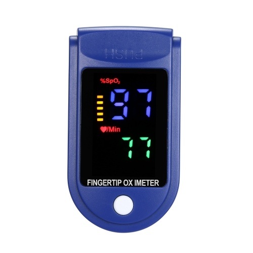 Mini Fingertip Pulse Oximeter Pulse Rate Blood Oxygen Saturation Monitor Clear OLED Display Lanyard Silicon Case for Home Use, Blue