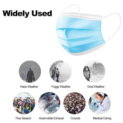TOMTOP / Disposable Mask Non-Woven Carbon Dustproof Blue 10pcs