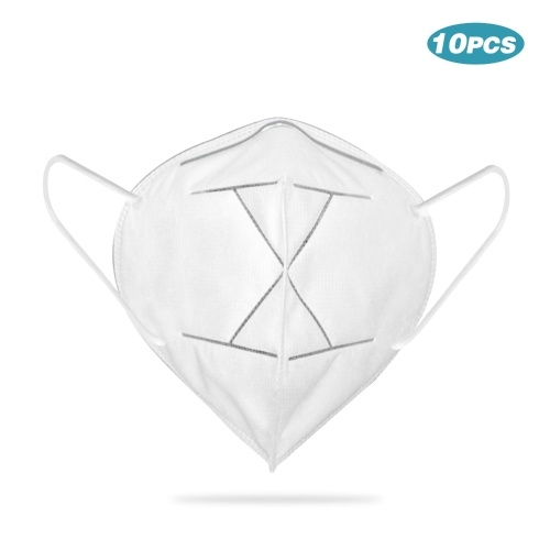 TOMTOP / 10pcs 5-Ply Disposable KN95 Mask Breathable Non-woven 95% Filtration Sanitary Protective Face Mouth Masks for Dust Particles Virus Pollution Personal Health