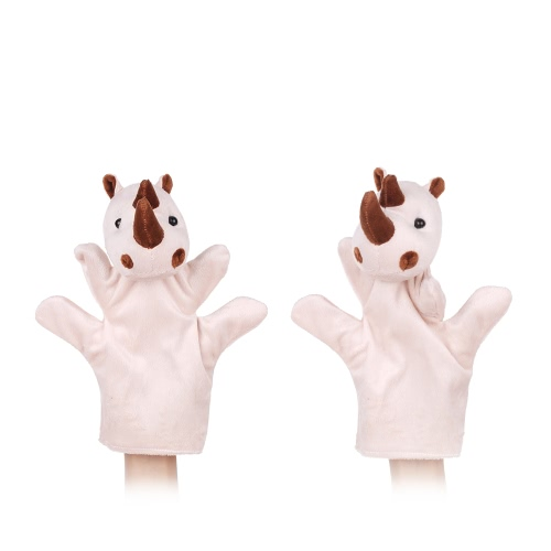 Hand Puppets Finger Puppets Story Time Educational Puppet Set 2Pcs Cartoon Rhinocero Mother Baby for Children Shows Playtime Schools