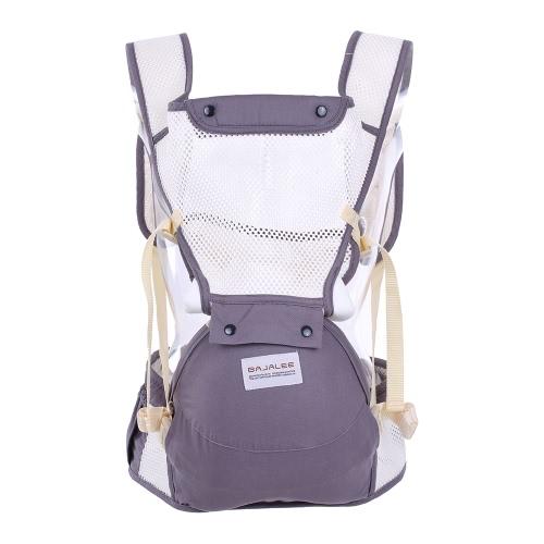 6 en 1 portador de bebé con asiento delantero de la cadera Kangaroo Packs Taburete de peso ligero transpirable de la cintura para el niño del bebé infantil 3 Meses-36 Meses Air Mesh Fabric Gris