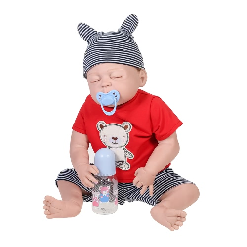 Full Silicone Reborn Baby Doll Eyes Closed Sleeping Dolls With Rooted Hair Clothes Newborn Baby Boy Doll Boneca 22inch 55cm Lifelike Cute Girl Gifts Toy