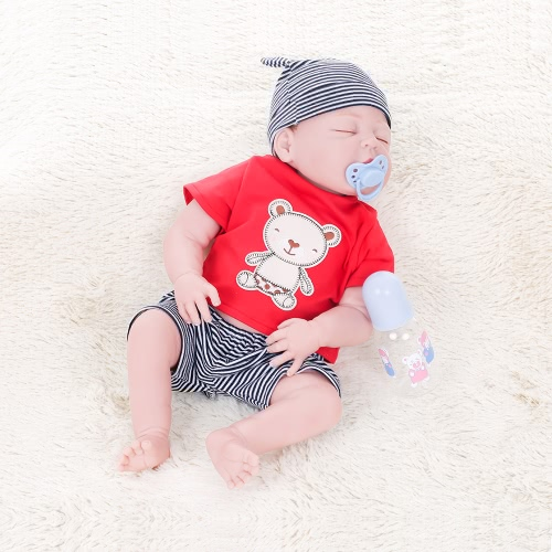 Image of Full Silikon Reborn Baby Doll Augen geschlossen Geschlossene Puppen mit verwurzelten Haar Kleidung Neugeborene Baby Puppe Boneca 22inch 55cm Lifelike Cute Girl Geschenke Spielzeug