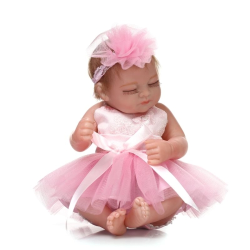 Reborn Baby Doll Baby Bath Toy Full Silicone Body Eyes Close Sleeping Baby doll With Clothes Hair 10inch 25cm Lifelike Cute Gifts