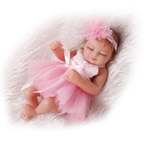 Reborn Bébé Poupée Bébé Jouet De Bain Plein Corps En Silicone Yeux Fermer Dormir Bébé poupée Avec Des Vêtements Cheveux 10 pouce 25 cm Réaliste Mignon Cadeaux Jouet Fille