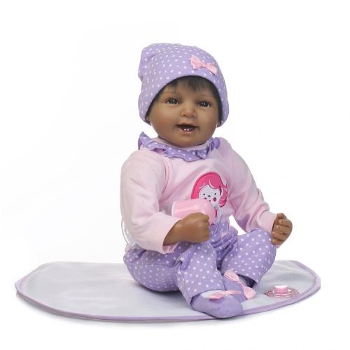 22 inch silikon reborn kleinkind puppe lächelndes baby puppe mädchen mit haar kleidung boneca lebensechte nette geschenke spielzeug
