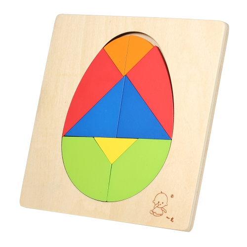 Wooden Jigsaw Puzzle Egg-Shaped Board Tangram Early Educational Develoment Toys Gifts for Kids
