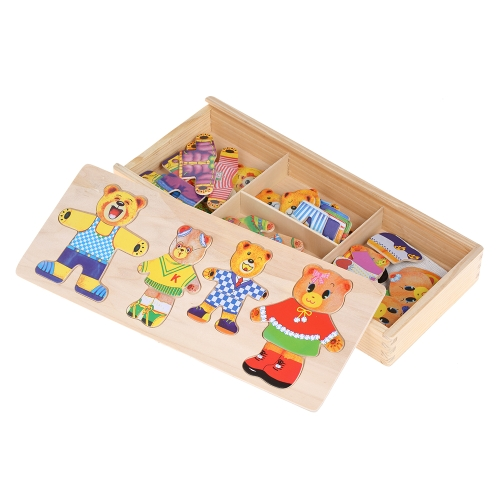 Baby Bear Change Clothes Puzzle Early Education Wooden Jigsaw Puzzle Dressing Game