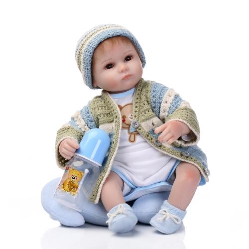 16 pouces 41 cm Silicone Reborn Toddler Bébé Poupée Fille Corps Boneca Avec Des Vêtements Brun Yeux Réaliste Mignon Cadeaux Jouet