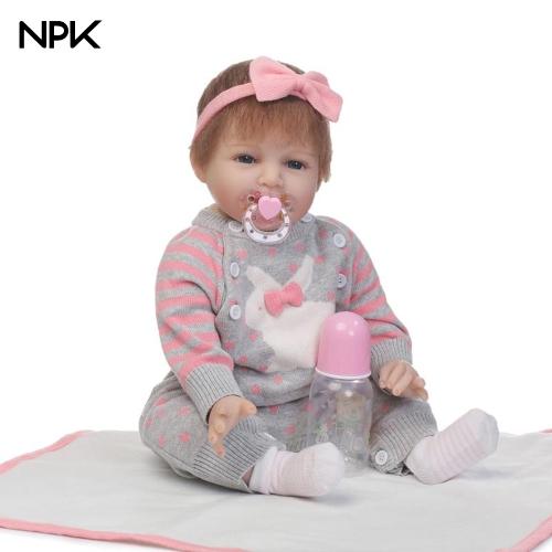 NPK 22in Reborn Baby Rebirth poupée enfants cadeau gris Bunny pulls