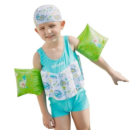 Boy One-Piece Float Swimsuit + Cap + Arm Ring Cute Fashion Swimwear  With Removable Buoyancy Stick Perfect for Kid Learn to Swim G
