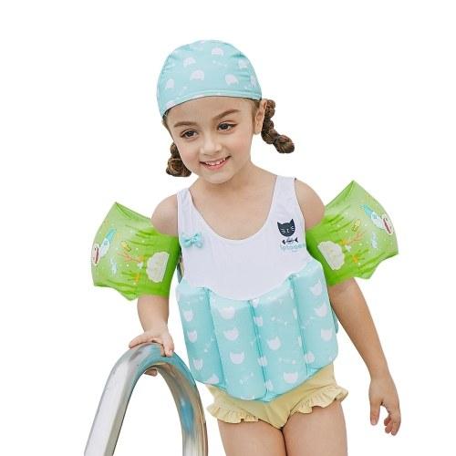 Девушка One-Piece Float Swimsuit + Cap + Кольцо для рук Стильный милый купальник с съемным плавучести Идеально подходит для малышей Learn to Swim Rose 90cm