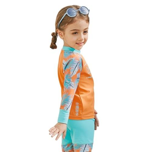 Девочка с двумя рукавами с длинным рукавом Купальник + колпачок UPF50 + Защита от солнца Быстрая сухая сыпь Защитные купальники Купальный костюм для детей Малыш оранжевый 90CM