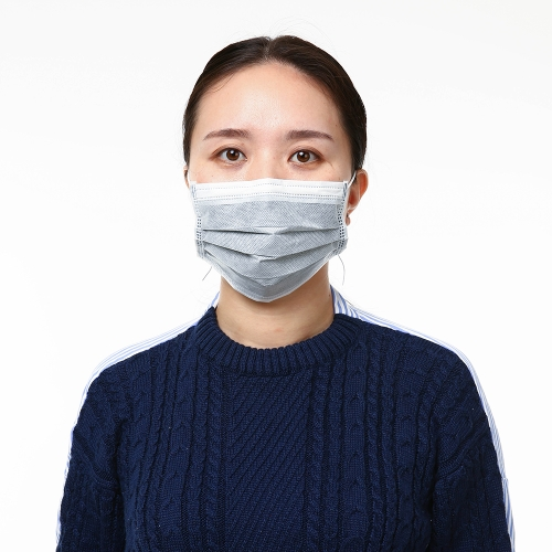Carevas 50PCS Earloop Disposal Face Mask 4-Ply Non-Woven Activated Carbon Filter pacote individual