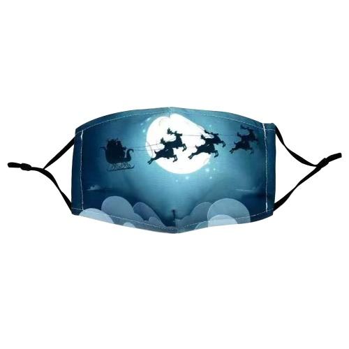 Weihnachtsmuster Baumwolle Gesichtsmaske verstellbare Ohrmuschel Anti Staub Mundschutz Waschbare wiederverwendbare Weihnachtsmann Maske für erwachsene Frauen Männer