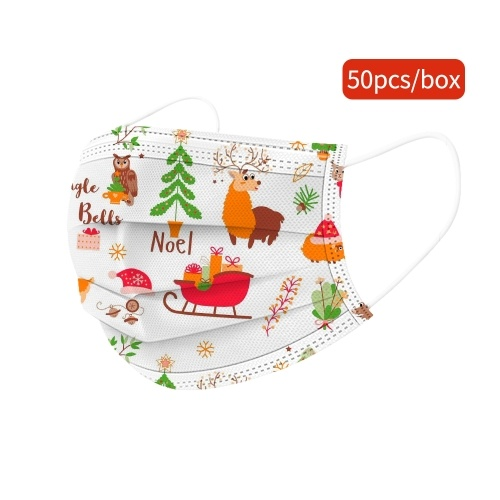 50pcs Children Christmas Disposable Face Mask Cute 3 Layers Breathable Facial Mask
