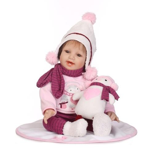 Reborn Baby Doll 22-calowy cialo Body Realistyczne maluch Doll Play House Toy prezent z Pink Snowman Cloths Toy