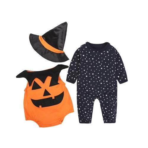 ファッション新生児の赤ちゃんカボチャハロウィン3Pcsの衣装セット