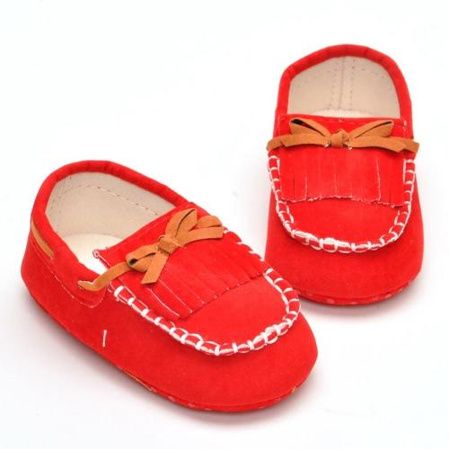 New Baby Unisex Tassel Bow No Tie Tods Soft Chaussures plates confortables pour le printemps et l'automne