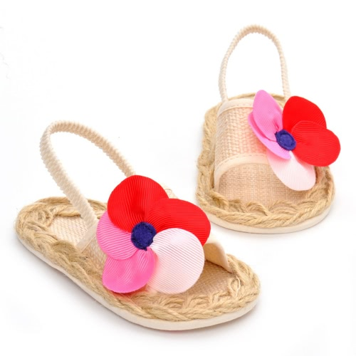 Popular Summer Baby Flower Sandals with Elastic Band Toddler Princess First Walkers Girls Shoes