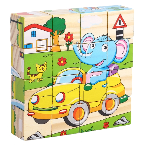 Puzzle drewniane 6 stron Kostka 3D Puzzle z kreskówek Building Block Early Educational Develoment Toys Gifts for Kids