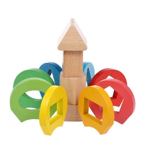 Image of Wooden Flower Stacking Ring Tower Building Block Jenga Stack Up Toys Early Educational Toys Gifts for Baby Kids Child