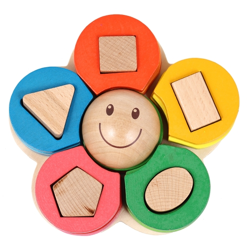 Wooden Flower Stacking Ring Tower Building Block Jenga Stack Up Toys Early Educational Toys Gifts for Baby Kids Child