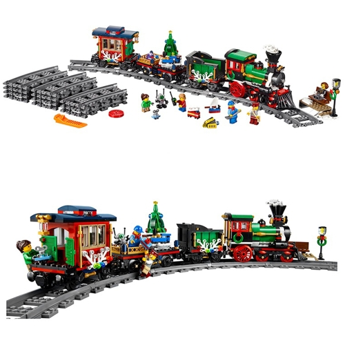 Creative Winter Festival Christmas Holiday Train Series of Puzzle Toys Model Building Kits
