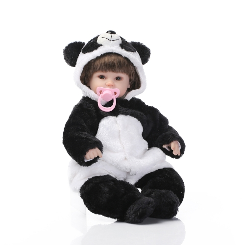 16inch 41cm Silicone Reborn Toddler Baby Doll Girl Body Boneca With Panda Clothes Brown Eyes Lifelike Cute Gifts Toy