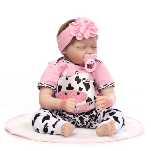 22inch 55cm Silicone Reborn Toddler Baby Doll Girl Sleeping Doll Boneca With Clothes Blue Eyes Lifelike Cute Gifts Toy