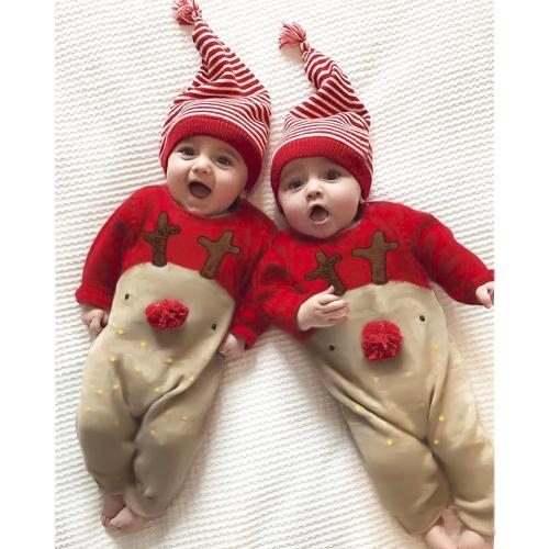 Netter Säugling neugeborenes Baby-Jungen-Mädchen-Weihnachtsspielanzug-Karikatur-Bodysuit-Overall scherzt Ausstattungs-Set und Hut