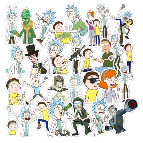 35 szt. Naklejek Rick and Morty 6-12cm