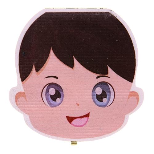 Dientes de bebé Lanugo Save Box Caja de recuerdo de madera de la personalidad linda de la personalidad Caja coloreada para el muchacho