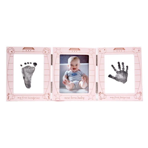 Baby Handprint Footprint Picture Frame Kit Triple Transparent Foldable Wooden Photo Frame With Non Toxic Pink