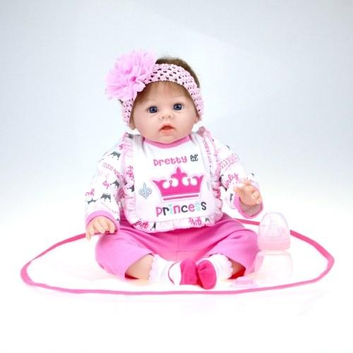 Image de 22 pouces 55 cm Reborn Bébé Poupée Fille PP remplissage Silicium Avec Des Vêtements Réaliste Mignon Cadeaux Jouet