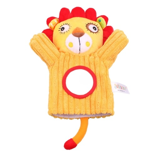 Baby Animals Hand Puppet Peluche Sonaglio Bell Magic Mirror Soft Finger Toys Per la prima educazione Lion