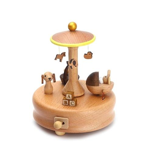 Карусельные музыкальные ящики Деревянные деревянные ремесла Детские игрушки
