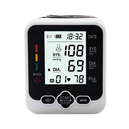 Elektronisches Blutdruckmessgerät Heimgebrauch Blutdruckmessgerät am Handgelenk Digitales LCD-Blutdruckmessgerät mit Herzfrequenzerkennung