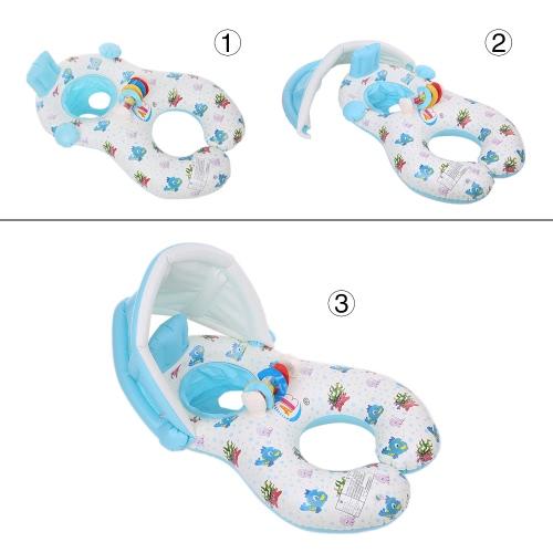 Nadmuchiwany Miękki Mama i Dziecko Pierścień do pływania Pierścień pływaka Łódka Rider z Odizolowanym Kapturem Sun Shade dla Baby Toddler Kid Light Blue