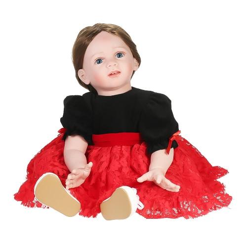 Силиконовая кукла для девочки-младенца с длинным коричневым париком для волос, мягкая силиконовая виниловая детская кукла Boneca 23inch 60cm Lifelike Cute Girl Gifts Toy