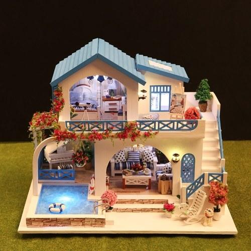 Miniature Super Mini Taille Maison De Poupée Kits De Modèle De Construction Meubles En Bois Jouets DIY Maison De Poupée Bleu et Blanc Ville