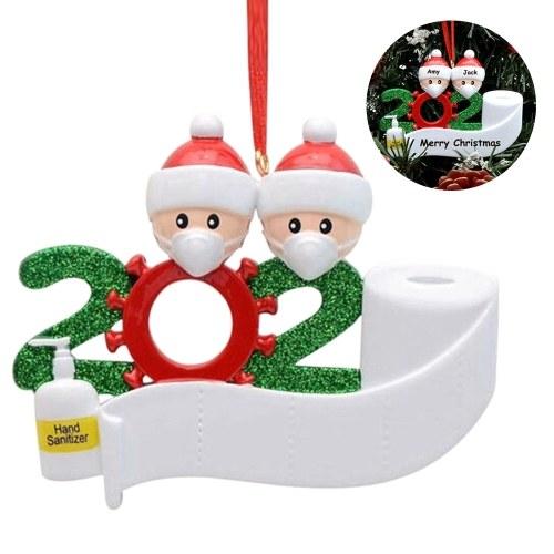 Adornos de nombre de árbol de Navidad Muñeco de nieve Decoración colgante Nombres y saludos de bricolaje 2020 Regalos de Navidad personalizados para familiares Amigos Fiesta de niños