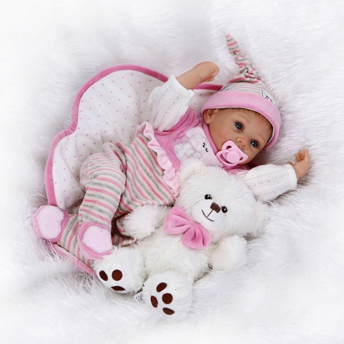 22inch Silicon Reborn Toddler Doll Smiling Baby Doll Girl With Hair Clothes Boneca Lifelike Cute Gifts Toy